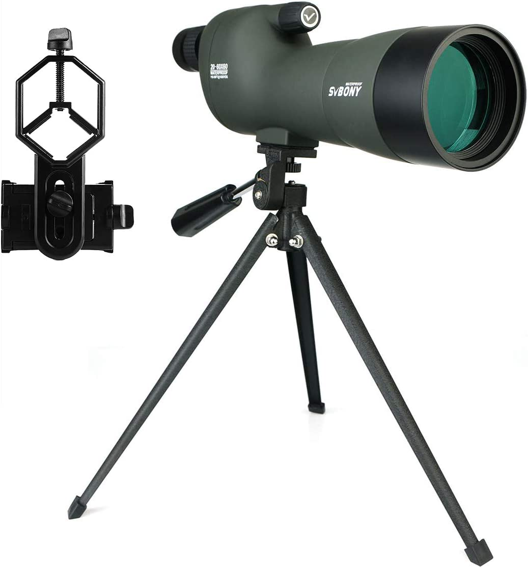 SVBONY SV28 20-60×60 Spotting Scopes Straight Scope Telescope for Bird Watching Target Shooting Hunting Waterproof Spotting Scopes