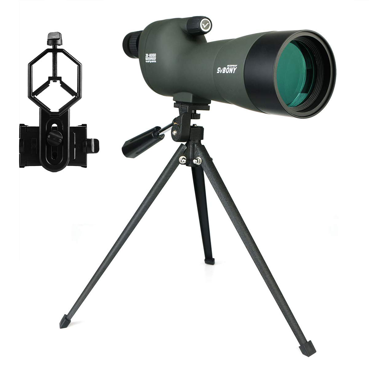 SVBONY SV28 20-60x60 Spotting Scopes Straight Scope Telescope for Bird Watching Target Shooting Hunting Waterproof Spotting Scopes tabletop tripod by SVBONY
