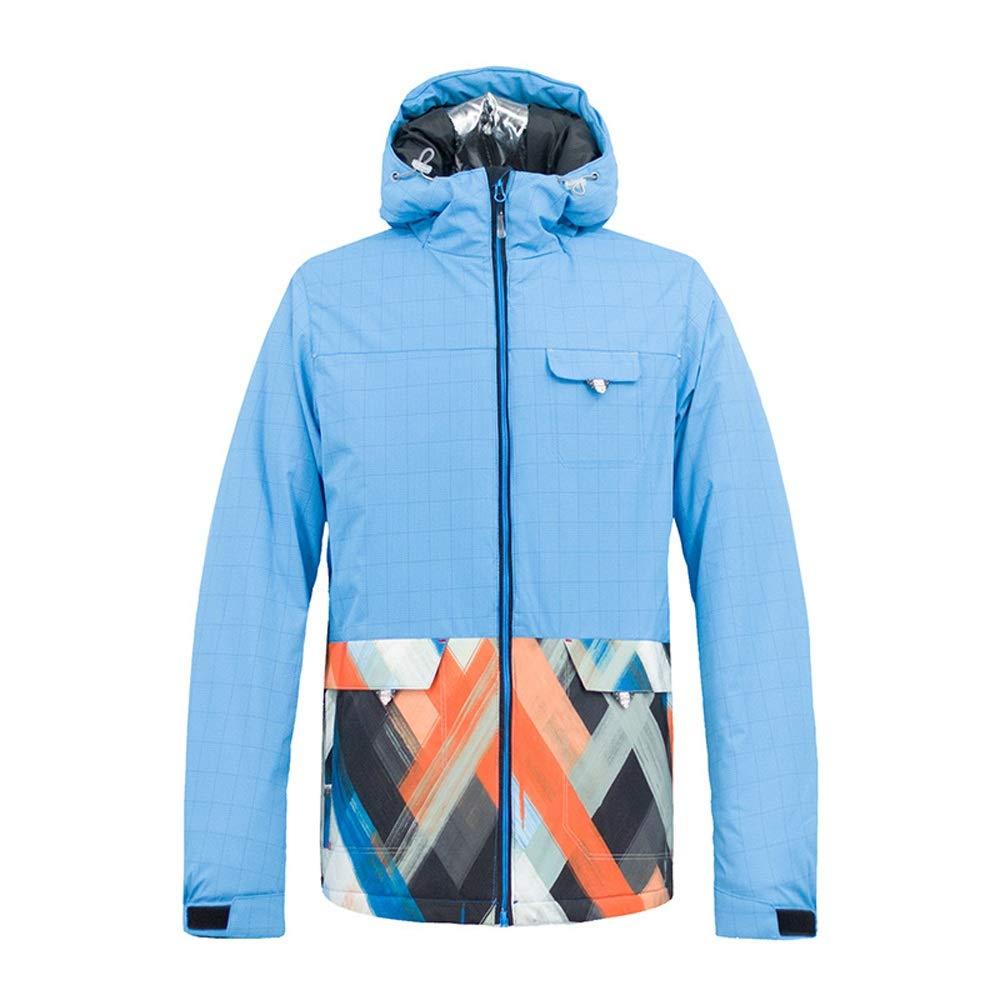 メンズスキーウェア 人のための調節可能な袖口が付いている青い防水防風スキージャケット スキー休暇用 (色 : 青, サイズ : M) 青 Medium