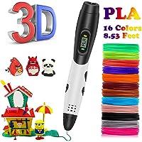 3D-Stift für Kinder, Kainuoa Spielzeug für Kinder 3D-Stift mit 1,75-mm-PLA-Filament-Packung mit 16, jede Farbe 10 Fuß, 3D-Druckstift mit LED-Bildschirm ist für Kinder, Künstler, Erwachsene und Upgrade