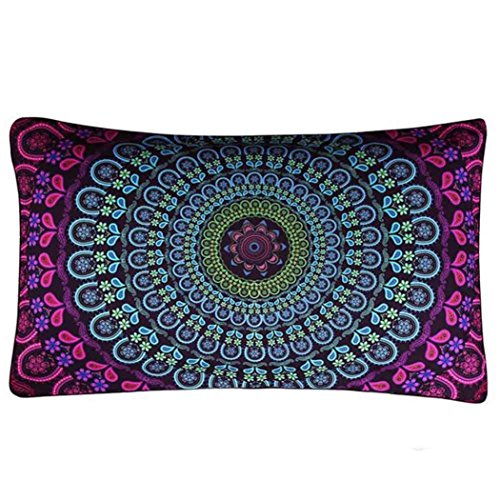 Seat Covers Poly Cotton Charcoal (Fheaven 30cm50cm Bohemia Style Rectangle Printing Pillow Case Cafe Home Decor Cushion Covers (B))