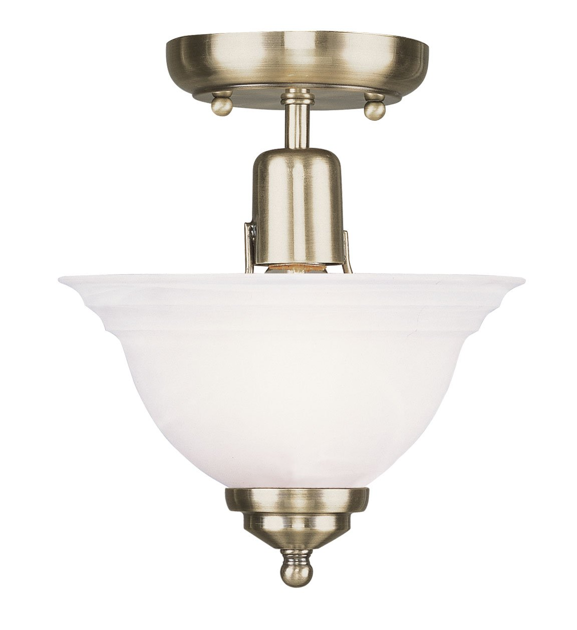 Livex Lighting 4250-01 Flush Mount with White Alabaster Glass Shades, Antique Brass