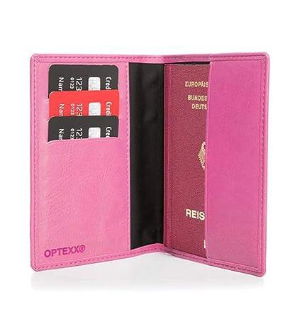 OPTEXX Premium RFID Reisepass-etui  Passh/ülle  Mika Marine Blau mit RFID Schutz T/ÜV gepr/üft /& zerifiziert aus Vegi Leder Travel organizer  Reisemappe