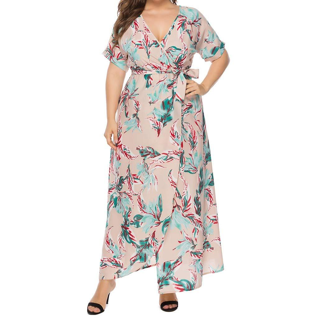 Plus Size Short Sleeves Bohemian Maxi Dress for Women Summer Print V Neck Beach Long Dresses White