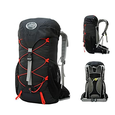 038 Outdoors 35 Liters L Super Light Riding Off-Road Running Portable Mountaineering Bag Men And Women Travel Waterproof Sports Backpack Shoulder Bag(Black and gray)