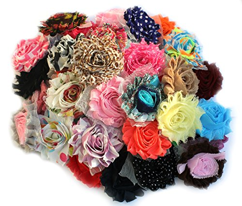 JLIKA (50 pieces) Shabby Flowers - Chiffon Fabric Roses - 2.5
