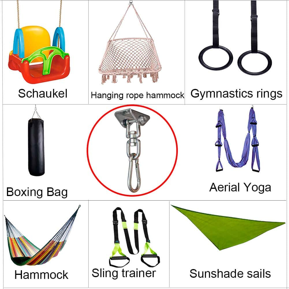 One Set BLASCOOL Swing Set Hangers Suspension Hook 360/° Rotate Heavy Duty 1000LB Capacity Stainless Steel Hammock Chair Sandbag Gym Rope Boxing Trapeze with Ceiling Mount Hardware