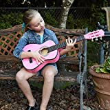 Pink Wood Guitar with Case and Accessories Gift for Kids/Girls/Beginners