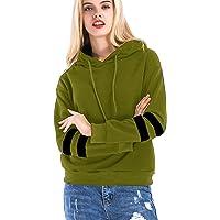 Khhalisi Women's Full Sleeves Striped Sweatshirt Hoodie