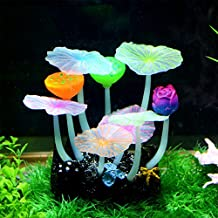 Saim? Glowing Effect Artificial Lotus Flowers for Fish Tank Decorative Aquarium Ornament