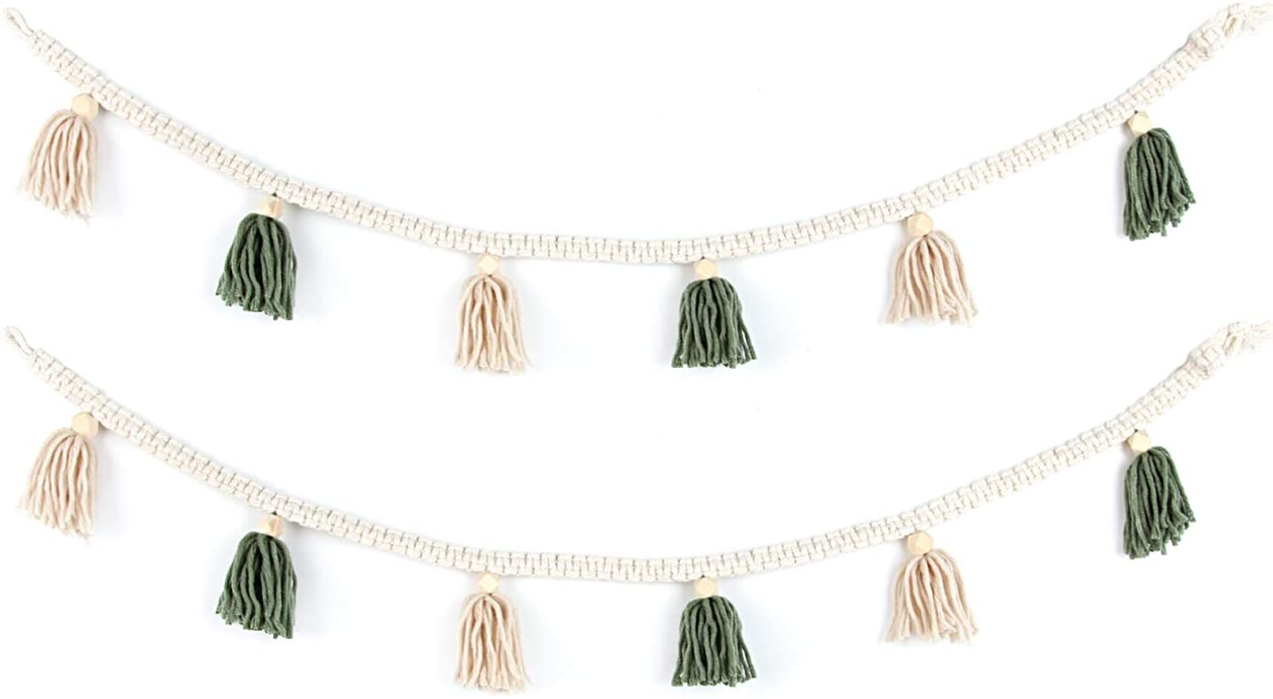BlueMake 2 Pack Macrame Woven Tassel Garland Belly Basket Decorative Wall Hangings for Boho Home Decor,Nursey Room (Green)