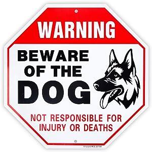 Enjoyist Beware of Dog Sign German Shepherd, Dog Warning Sign,12