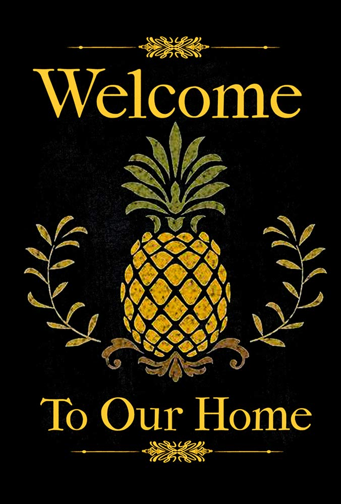"""Pineapple Welcome to Our Home Decorative Garden Flag, Double Sided, 12"""" x 18"""" Inches, Summer Seasonal Outdoor Yard Banner"""