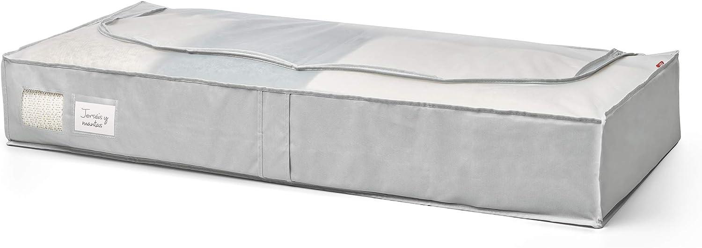 Gris Claro//Transl/úcido Rayen 45 x 103 x 16 cm Caja de almacenaje de ropa y mantas de cama rejilla transpirable Bolsa de tela para ropa con cremallera plegable y resistente