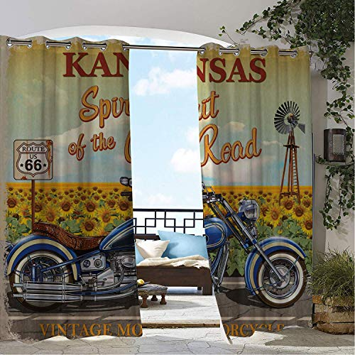 Linhomedecor Patio Waterproof Curtain Route 66 Kansas Spirit of The Road Typography in Front of Sunflower Garden Historic Route Multicolor pergola Grommets Parties Curtains 108 by 108 inch