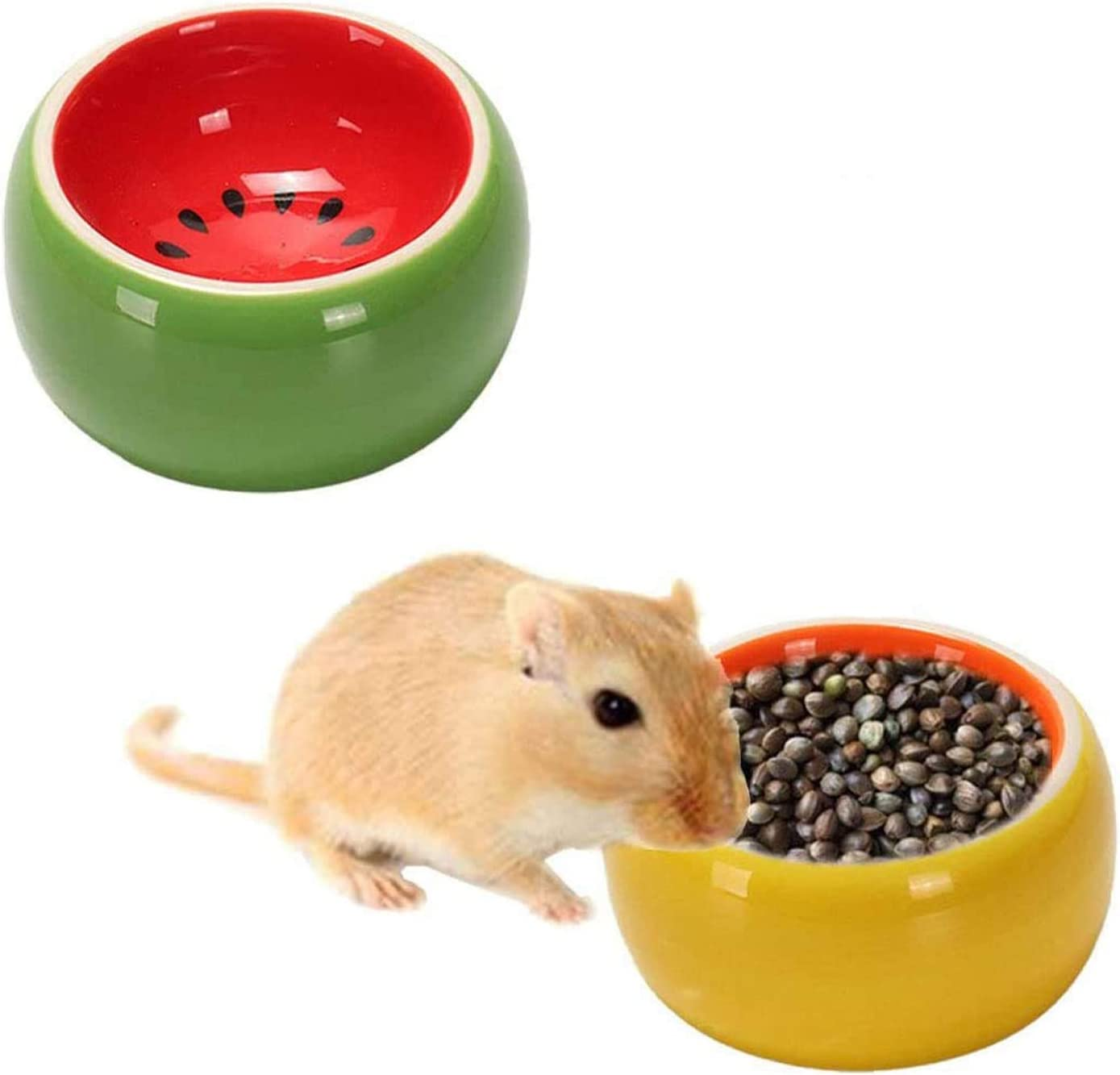 Tfwadmx 2 Pcs Hamster Food Bowl, Small Animals Ceramic Feeding Water Dish for Guinea Pig Rat Hedgehog Rabbit Gerbil Mouse Rodent
