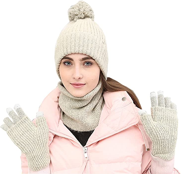 OKSakady Donna Signora Ragazza Inverno Caldo a Maglia Spessa Beanie Cappello  Sciarpa Guanti Tre set con Funzione Touch Screen 3d6e1bff17c2