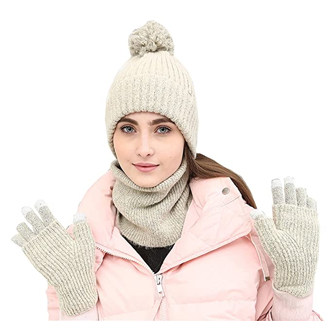 45dfb6844f8 Image Unavailable. Image not available for. Color  Chicone Women Beanie Hat  Scarf Gloves Set Knit Winter ...
