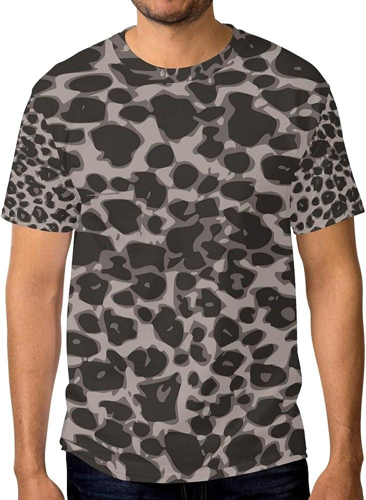 FANTAZIO - Camiseta de Manga Corta para Hombre, diseño de Leopardo, Color Gris 1 3XL: Amazon.es: Ropa y accesorios
