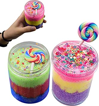 SWZY Fluffy Floam Slime Toy Snow Mud, Tricolor Lollipop Mud Mixing ...
