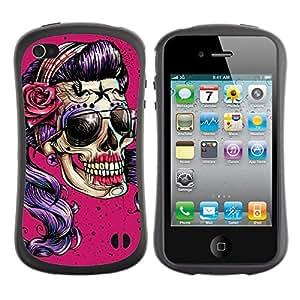 LASTONE PHONE CASE / Suave Silicona Caso Carcasa de Caucho Funda para Apple Iphone 4 / 4S / Pink Purple Shades Girl Biker Woman