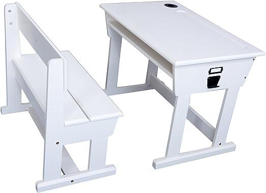 YJBE Mesas y sillas Blancas para los niños de Escritorio de Madera ...