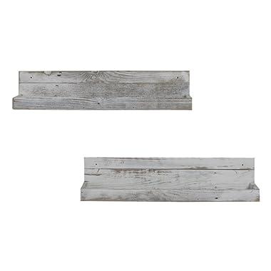 del Hutson Designs - White Reclaimed Floating Shelves (Set of 2), USA Handmade, White (6H x 24W x 7D, White)