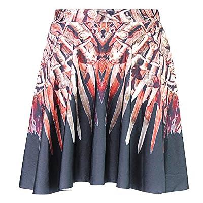 Joyhy Women's Funny Digital 3D Printed Stretchy Flared Casual Mini Skater Skirt