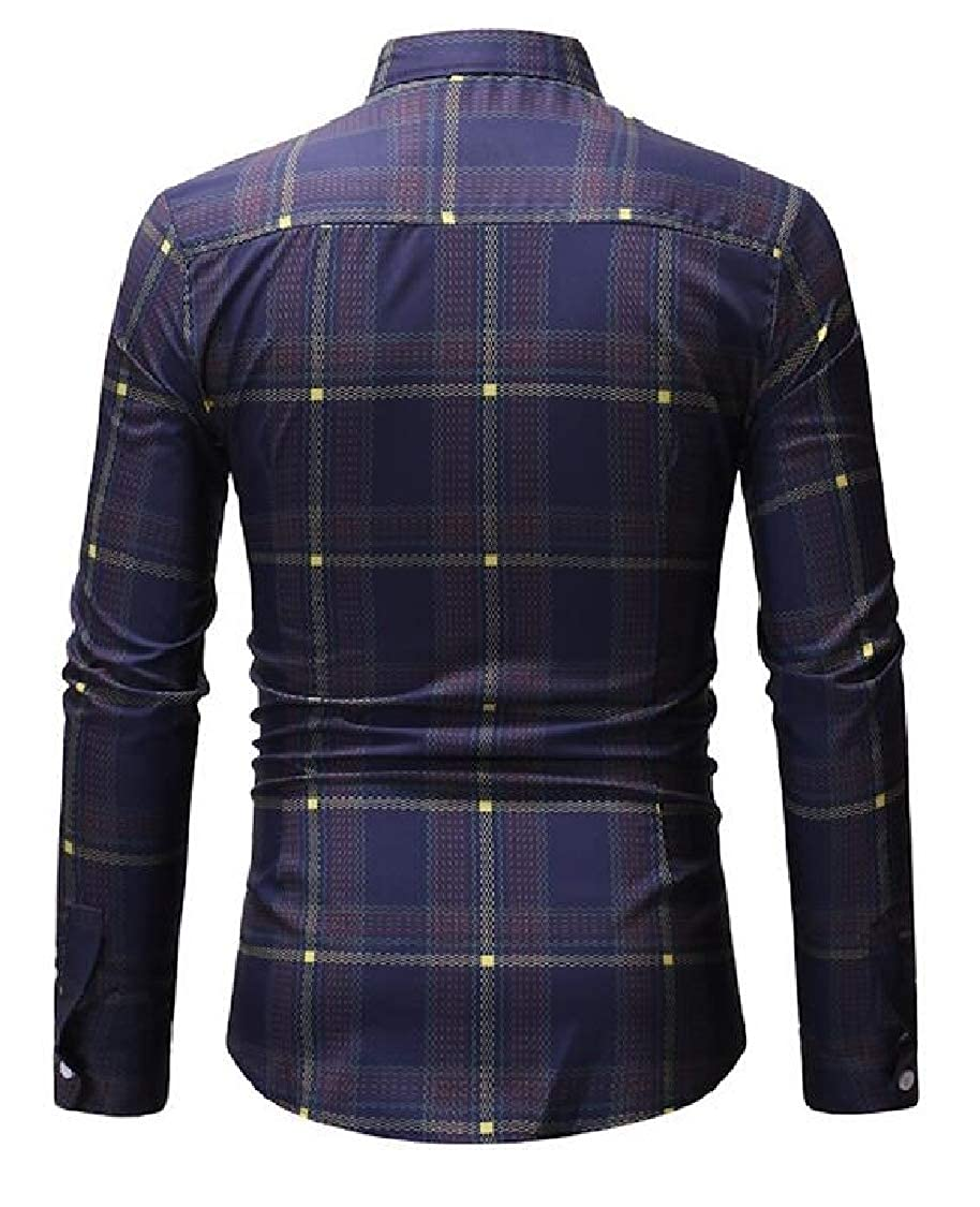 Lutratocro Mens Casual Long-Sleeve Slim Fit Plaid Button Up Print Shirts