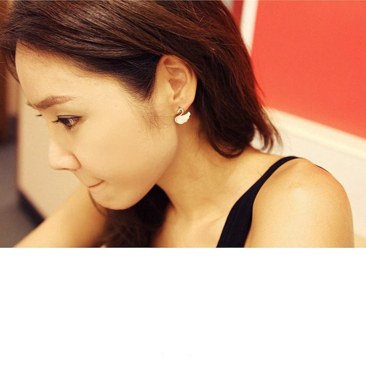 Golden Libaraba Shell Swan Stud Earrings with Jewelry Box,Swan Earrings for Women