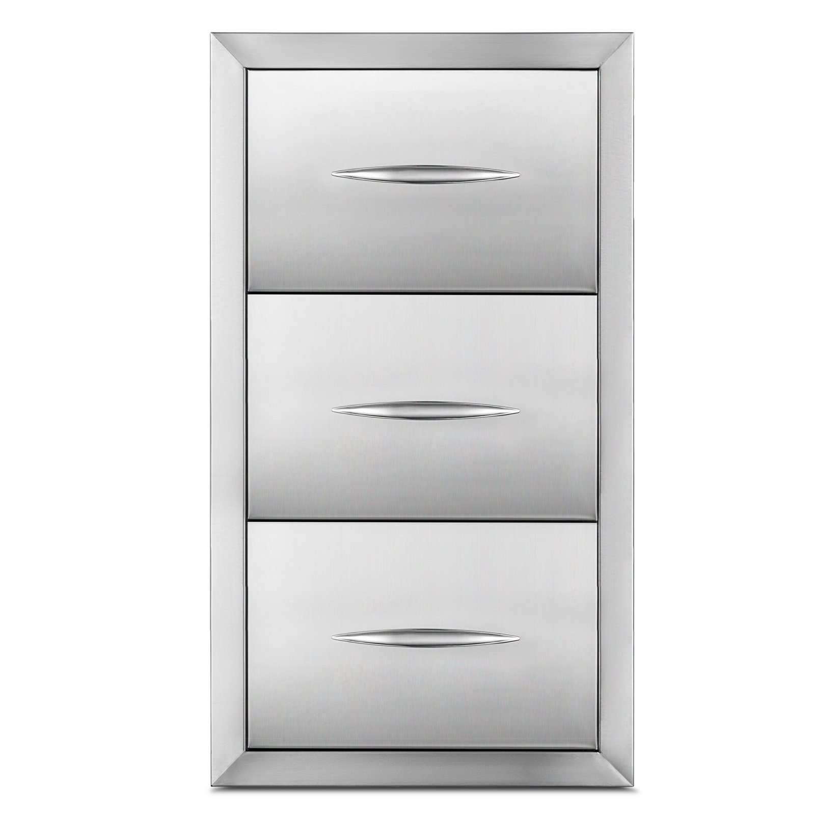 Happybuy Outdoor Kitchen Drawer 30''x17'' Stainless Steel BBQ Island Drawer Storage with Chrome Handle Triple Access Drawer Flush Mount Sliver Double Access Drawer (Outdoor Kitchen Drawer 30''x17'') by Happybuy