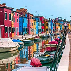 Multi-Coloured houses next to a canal Burano Italy Poster Print by Assaf Frank (24 x 24)