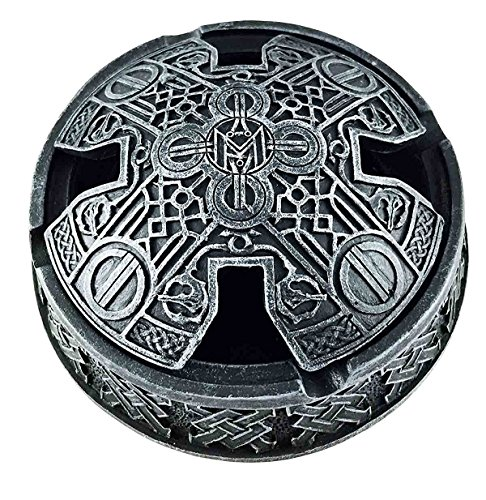 Celtic Cross Faux Stone Knotwork Round Cigarette Ashtray With Lid Figurine