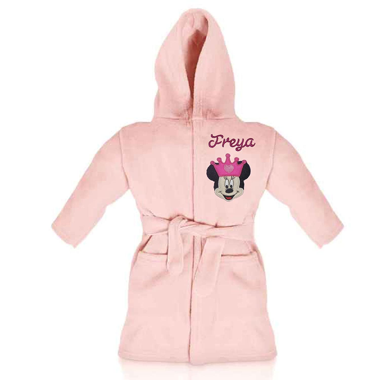 Minnie Mouse Princess Disney Luxury Personalised & Applique Super Soft Fleece Dressing Gown/Bathrobe (1-2 Years)