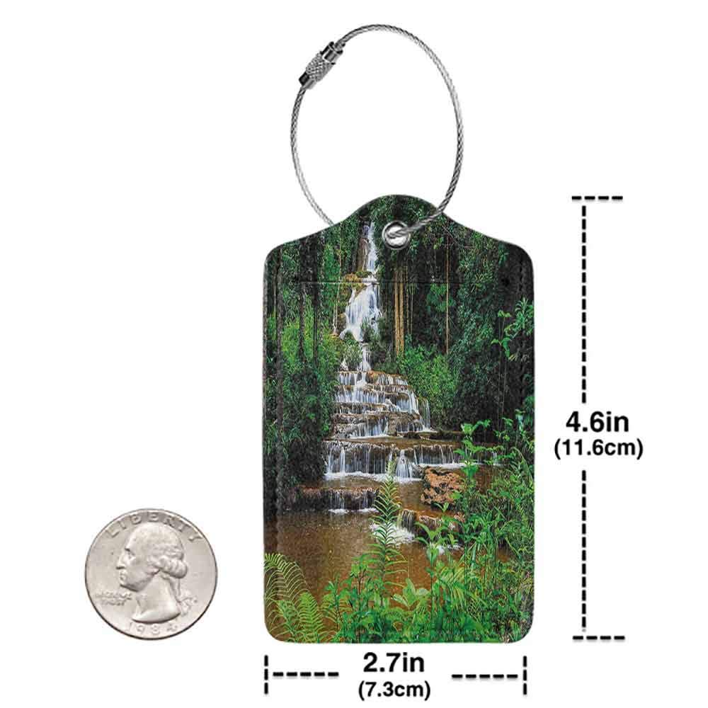 Decorative luggage tag Waterfall Decor Long Way Waterfall in Tropic Rainforest with Exotic Botanic Trees and Bushes Suitable for travel Green W2.7 x L4.6