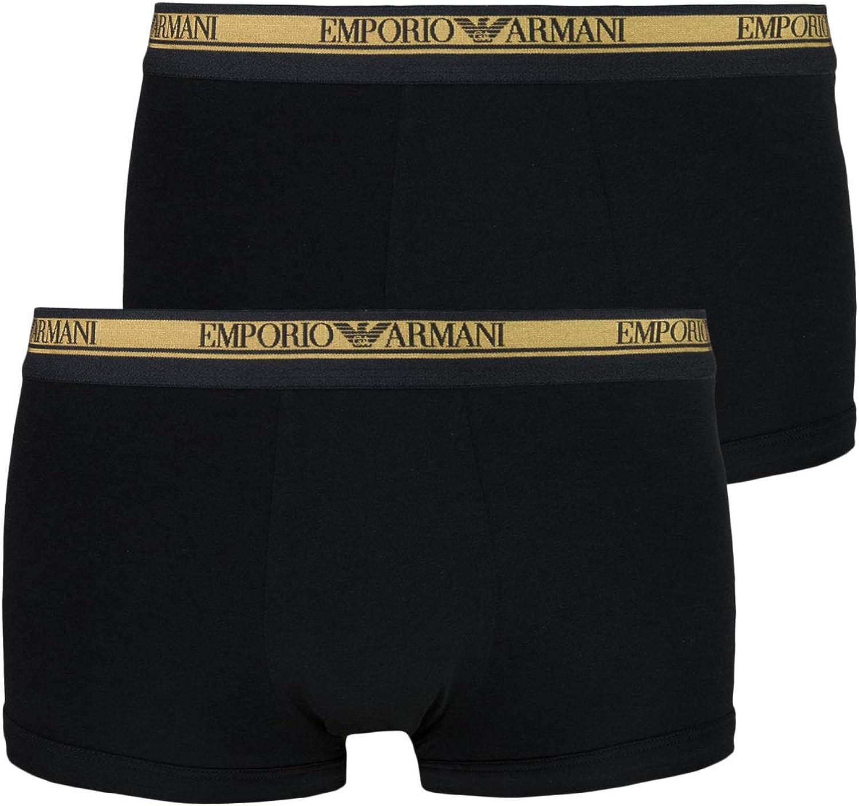 Emporio Armani 2-Pack Logoband Bóxer Masculino Bóxer Juego De Regalo, Negro/Oro X-Grande: Amazon.es: Ropa y accesorios
