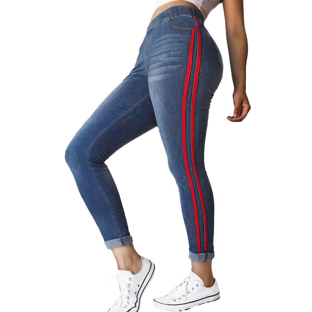 LandFox Autumn Elastic Plus Loose Pants,Jeans for Women Casual Drawstring Plus Cropped Jeans
