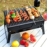 ZZ-aini Outdoor Charcoal grills, Folding Adjustable Portable BBQ Camping Garden Picnicking Barbecue-stainless steel 432923cm