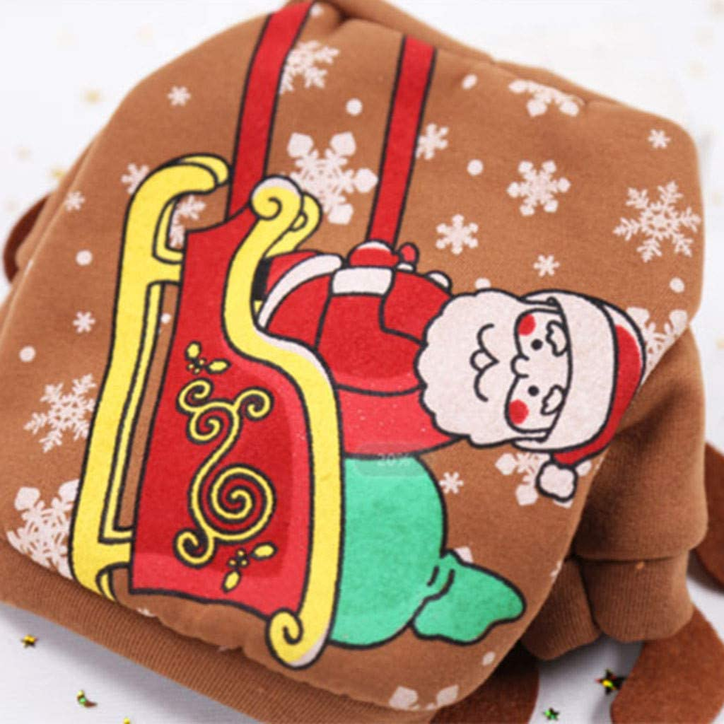 ZoePets Christmas Pet Apparel Elk Pet Dress Up Santa Print Pet Sweater Polyester Pet Costume