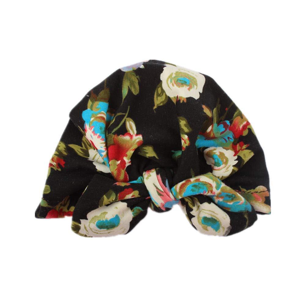 Sunenjoy B/éb/é Bandeau Fille Bonnet Turban en Coton Bande de Cheveux /élastique Boh/ême Coiffe Bowknot Hiver Chaud Casquette