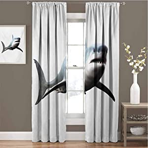 Shark for Bedroom Blackout Curtains Digital Illustration of Wild Sea Creature Character Computer Art Artifical Image Blackout Curtains for The Living Room W72 x L84 Inch Blue Grey White
