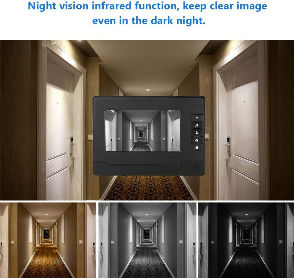 UK 7 pollici TFT//LCD HD impermeabile videocitofono cablato campanello citofono infrarossi per visione notturna Videocitofono