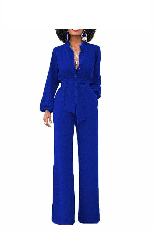 nboba jumpsuits Women Long Pants Band Collar Work Wear Formal Evening Jumpsuit