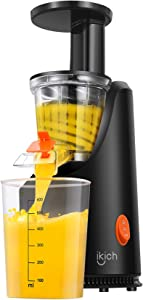 Slow Juicer IKICH 200W Compact Vertical Masticating Juicer with Maximum Nutritional Value, Easy to Clean, Fresher Nutrient and Vitamins, Cold Press Juicer for All Fruits and Vegetable, 64 RPM