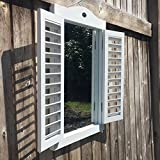 Whole House Worlds The Stockbridge Farmhouse Style Rustic Window Mirror with Shutters, Brass Hardware, Distressed White Finish, 19 5/8 T x 13 3/4 Inches, By WHW
