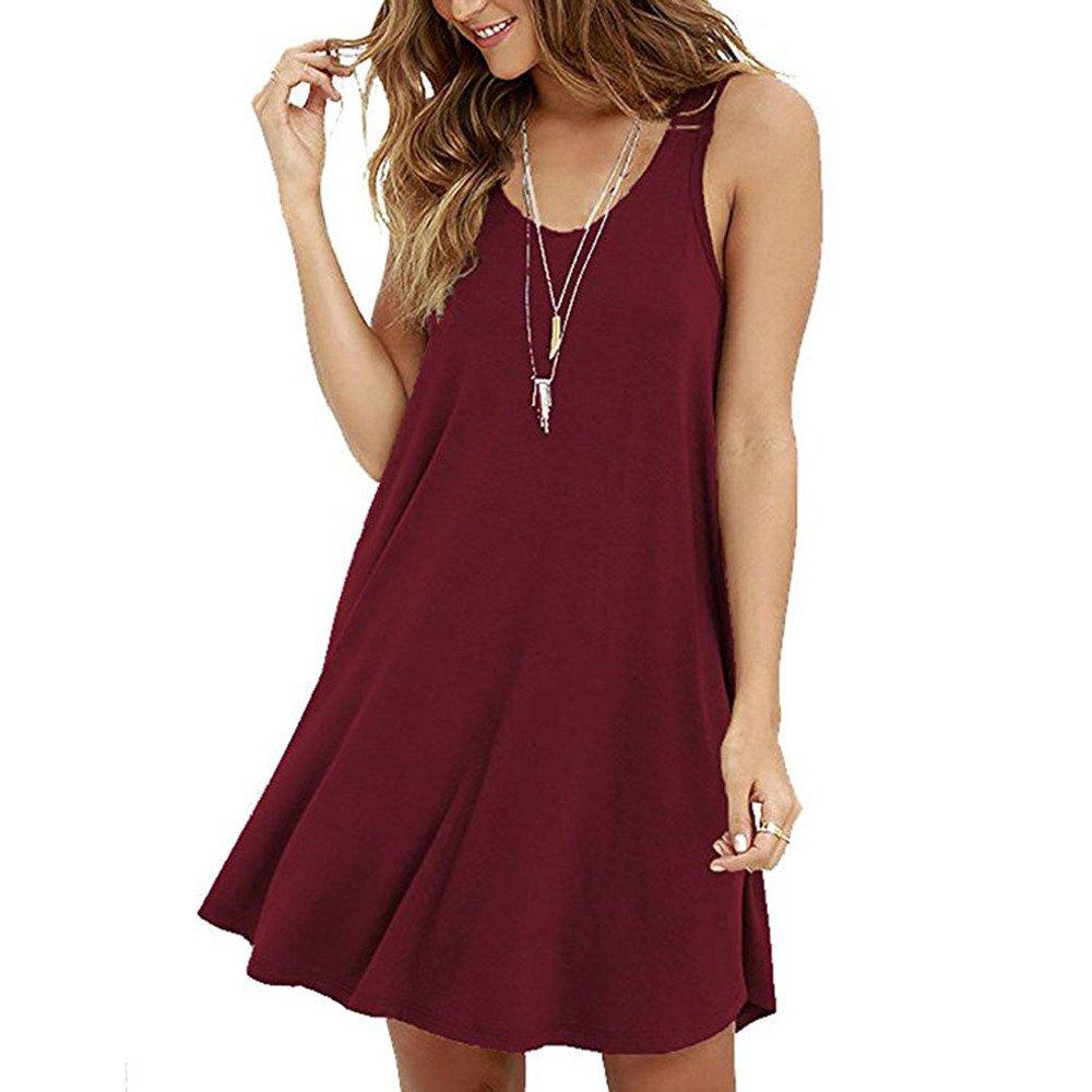 Women's Casual Solid Sleeveless Strapless Mini Dress Summer Loose O-Neck A-Line Shirt Camis Dresses Beach Sundress Wine