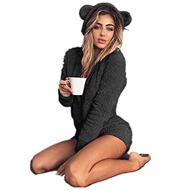 33e03b99c Amazon.com  Xmeden Ladies Cute Long Sleeve Pajamas Short Fleece ...