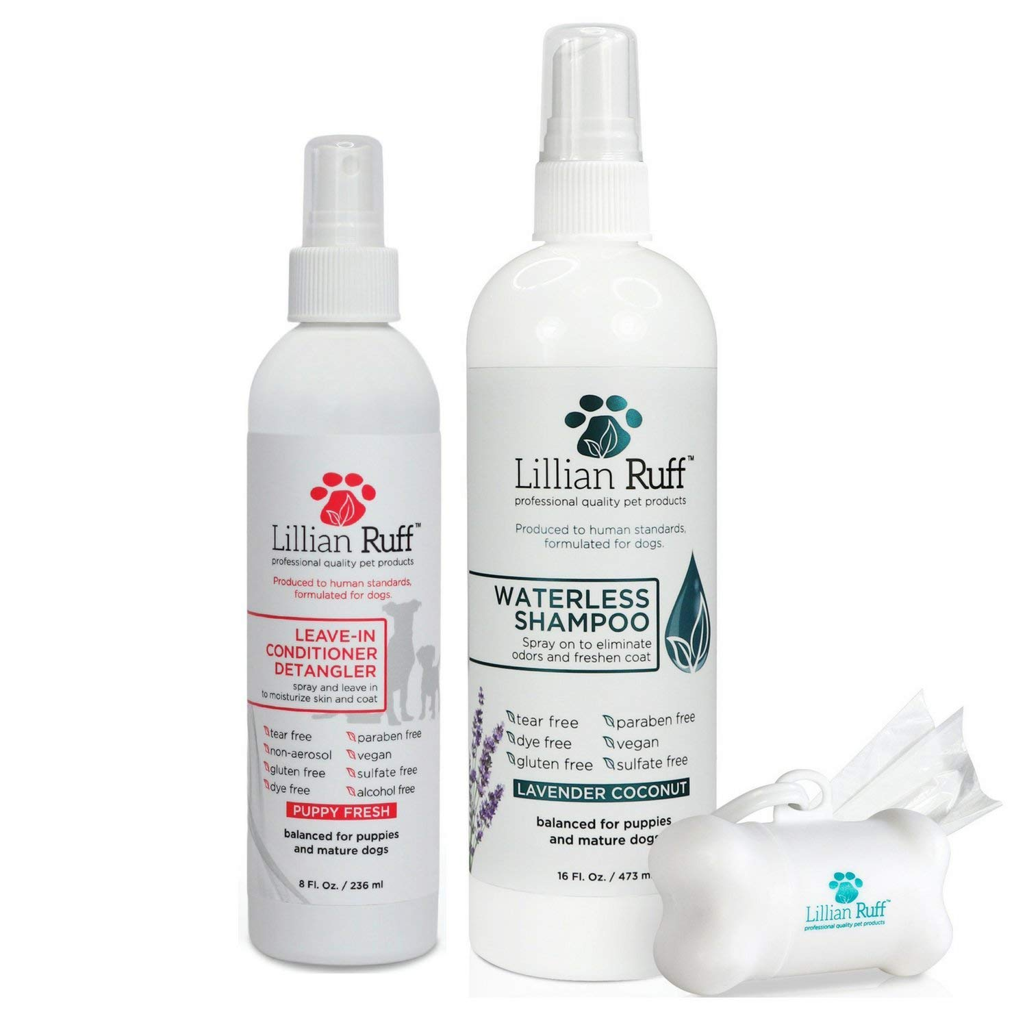 Lillian Ruff Waterless Dog Shampoo - No Rinse Quick Dry Dog Shampoo Spray - Tear Free Lavender Coconut Scent to Deodorize Pet Odor and Freshen Coat - Made in USA (Waterless & Detangler)