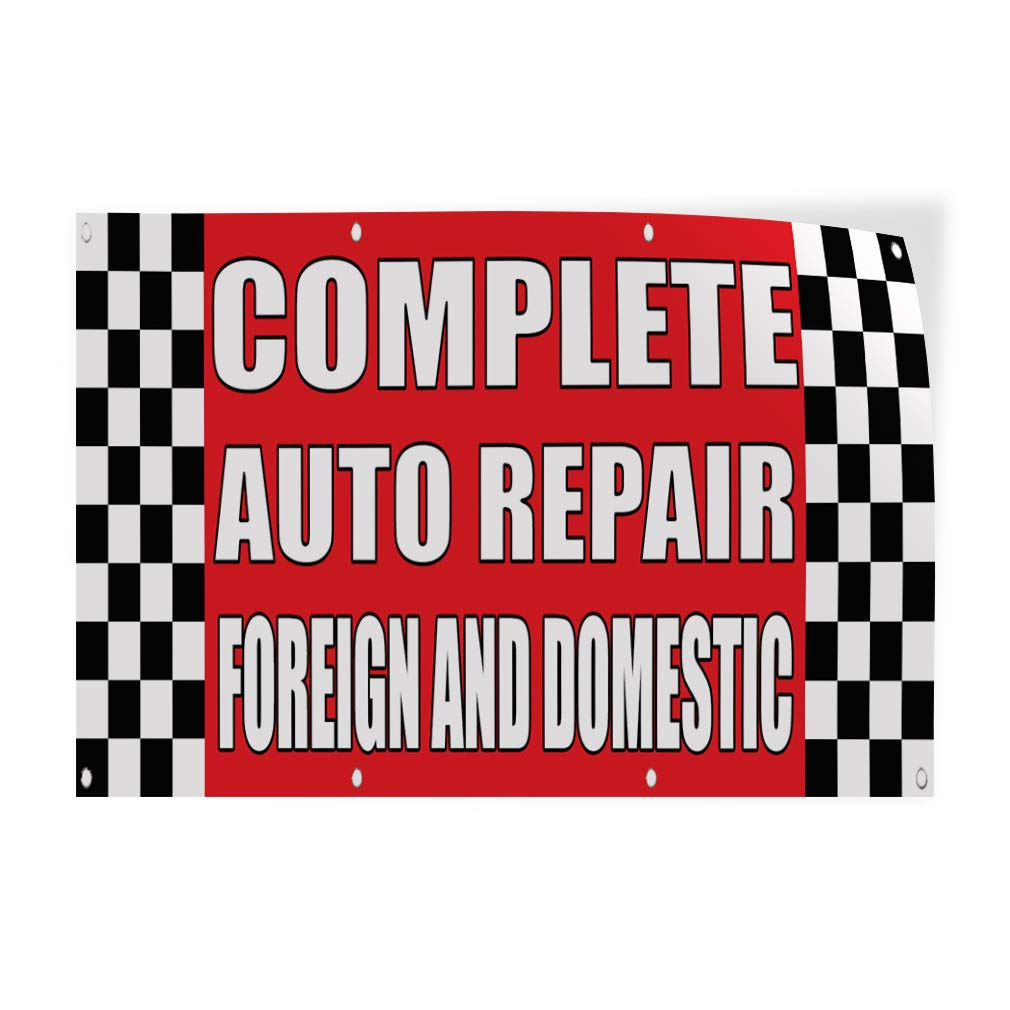 Decal Sticker Multiple Sizes Complete Auto Repair Foreign Domestic Body Shop Automotive Foreign Cars Outdoor Store Sign Red Set of 2 72inx48in