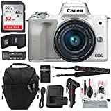 Canon EOS M50 Mirrorless Digital Camera with EF-M 15-45mm Lens (White) and 32GB Card + Basic Photo Travel Bundle